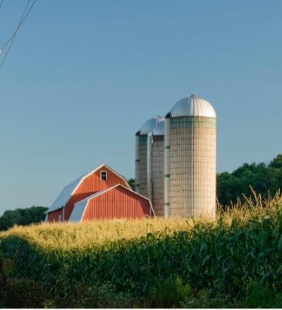 A barn next to grain silos after receiving Pole Barn Repair in Ottawa IL