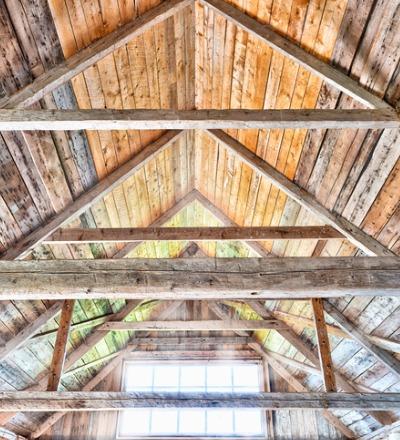 Interior frame of a pole barn in Ottawa IL